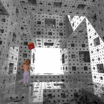 This image is copyright Paul Bourke  and Gayla Chandler.  The child tossing her  stage-1 Menger sponge comes from a digital  photograph that I took in her kitchen.   Paul later extracted them from my image  and set them inside of one of his computer- generated stage-6 sponges.